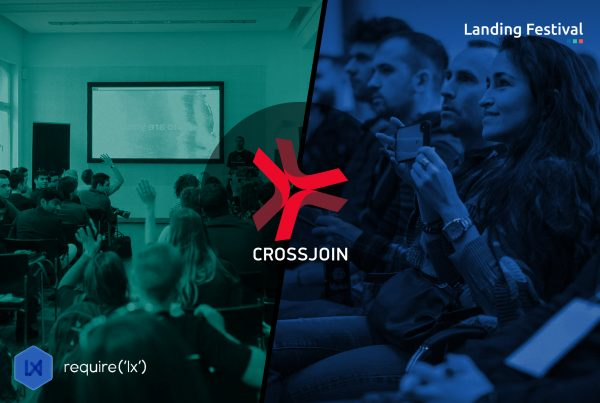 Image composed with two Landing Festival pictures of conferences